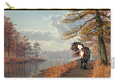 Pinto Horse On A Riverside Trail Carry-all Pouch by Daniel Eskridge
