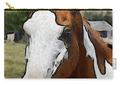 Carry-all Pouch featuring the photograph Pinto In The Pasture Portrait  by Barbara Snyder