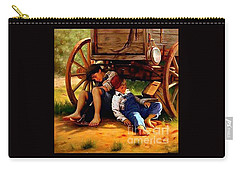 Carry-all Pouch featuring the painting Pioneer Boys Napping On The Trail by Peter Gumaer Ogden