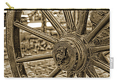 Carry-all Pouch featuring the photograph Pioneer Wagon Wheel by Marie Leslie