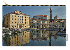 Carry-all Pouch featuring the photograph Piran Marina Reflections #2 by Stuart Litoff