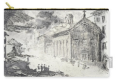 Carry-all Pouch featuring the painting Piranesi Paraphrase No. 51 Tempio Delle Fortuna Virile, Now Santa Maria Egiziaca by Martin Stankewitz