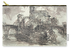 Carry-all Pouch featuring the painting Piranesi Paraphrase No.44, Veduta Dell' Isola Tiberina by Martin Stankewitz