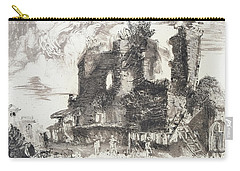 Carry-all Pouch featuring the painting Piranesi Paraphrase No.52 Remains Of The Fountainhead Of The Aqua Guilia by Martin Stankewitz