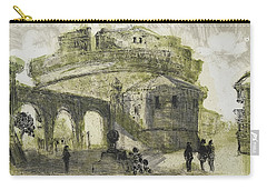 Carry-all Pouch featuring the painting Piranesi Paraphrase No.53 Mausoleum Of Hadrian Castel Sant Angelo by Martin Stankewitz
