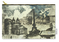 Carry-all Pouch featuring the painting Piranesi Paraphrase Piazza Della Rotonda by Martin Stankewitz