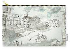 Carry-all Pouch featuring the painting Piranesi Paraphrase Piazza Di Spagna by Martin Stankewitz
