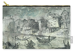 Carry-all Pouch featuring the painting Piranesi Paraphrase Porto Di Ripetta by Martin Stankewitz