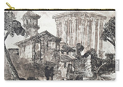 Carry-all Pouch featuring the painting Piranesi Paraphrase Tempio Della Sibilla In Tivoli by Martin Stankewitz