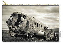Carry-all Pouch featuring the photograph Plane Crash Iceland by Edward Fielding