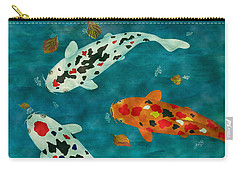 Carry-all Pouch featuring the painting Playful Koi Fishes Original Acrylic Painting by Georgeta Blanaru