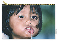 Carry-all Pouch featuring the photograph Playful Little Girl In Thailand by Heiko Koehrer-Wagner