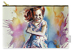 Carry-all Pouch featuring the painting Playing Girl by Kovacs Anna Brigitta