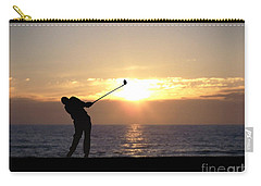 Carry-all Pouch featuring the photograph Playing Golf At Sunset by Phil Perkins