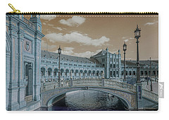 Carry-all Pouch featuring the photograph Plaza De Espana Vintage by Jenny Rainbow