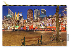 Carry-all Pouch featuring the photograph Plein Square At Night - The Hague by Barry O Carroll
