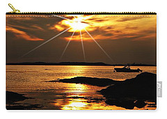 Plum Cove Beach Sunset E Carry-all Pouch by Joe Faherty