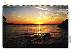 Plum Cove Beach Sunset G Carry-all Pouch by Joe Faherty