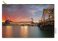 Carry-all Pouch featuring the photograph Pnc Park At Sunset by Emmanuel Panagiotakis
