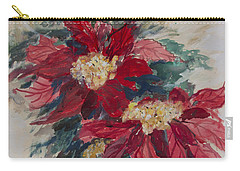 Poinsettias In A Brown Vase Carry-all Pouch by Avonelle Kelsey