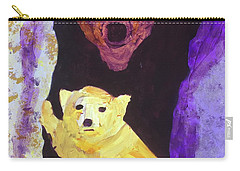 Carry-all Pouch featuring the painting Cave Bear With Cub by Donald J Ryker III
