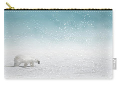 Carry-all Pouch featuring the digital art Polar Bear In Snow by John Wills