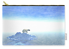 Carry-all Pouch featuring the digital art Polar Bear On Iceberg by Phil Perkins