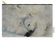 Carry-all Pouch featuring the drawing Polar Snuggle by Meagan  Visser