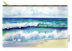 Carry-all Pouch featuring the painting Polhale Waves 3 by Marionette Taboniar