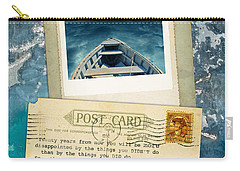 Poloroid Of Boat With Inspirational Quote Carry-all Pouch