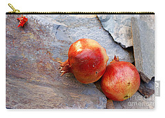 Carry-all Pouch featuring the photograph Pomegranates On Stone by Cindy Garber Iverson