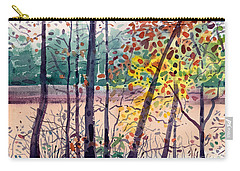 Carry-all Pouch featuring the painting Pond In Fall by Donald Maier