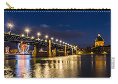 Carry-all Pouch featuring the photograph Pont Saint-pierre With Street Lanterns At Night by Semmick Photo