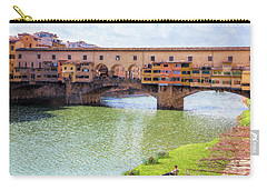 Carry-all Pouch featuring the photograph Ponte Vecchio Florence Italy II Painterly by Joan Carroll