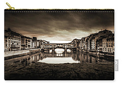 Carry-all Pouch featuring the photograph Ponte Vecchio In Sepia by Sonny Marcyan