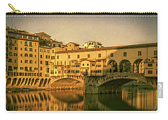 Carry-all Pouch featuring the photograph Ponte Vecchio Morning Florence Italy by Joan Carroll