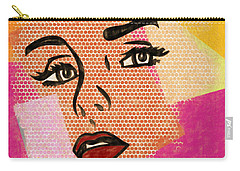 Carry-all Pouch featuring the mixed media Pop Art Comic Woman by Dan Sproul