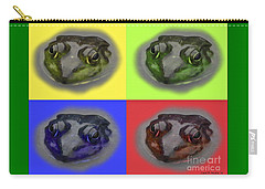 Pop Art Frog Face Carry-all Pouch by Carol F Austin