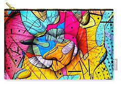 Carry-all Pouch featuring the digital art Popart Rain By Nico Bielow by Nico Bielow