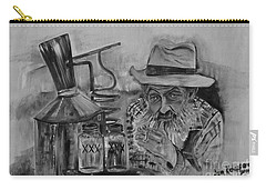 Popcorn Sutton - Black And White - Waiting On Shine Carry-all Pouch