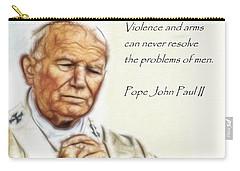 Carry-all Pouch featuring the digital art Pope John Paul II   by Maciek Froncisz