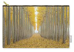 Poplar Tree Farm One Foggy Morning In Fall Season Carry-all Pouch by Jit Lim