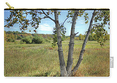 Poplar Tree In Autumn Meadow Carry-all Pouch