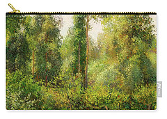 Carry-all Pouch featuring the painting Poplars - Eragny by Camille Pissaro