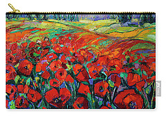 Poppies And Cypresses - Modern Impressionist Palette Knives Oil Painting Carry-all Pouch