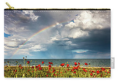 Poppies And Rainbow By The Sea Carry-all Pouch