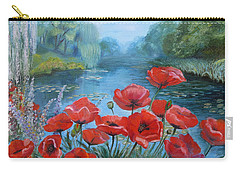 Poppies At Peaceful Pond Carry-all Pouch