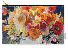 Poppies, Clematis, And Daffodils In Porcelain Vase. Carry-all Pouch