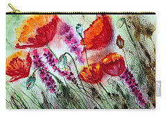 Carry-all Pouch featuring the painting Poppies In The Wind by Maria Barry