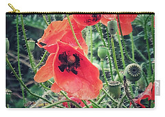 Carry-all Pouch featuring the photograph Poppies by Karen Stahlros